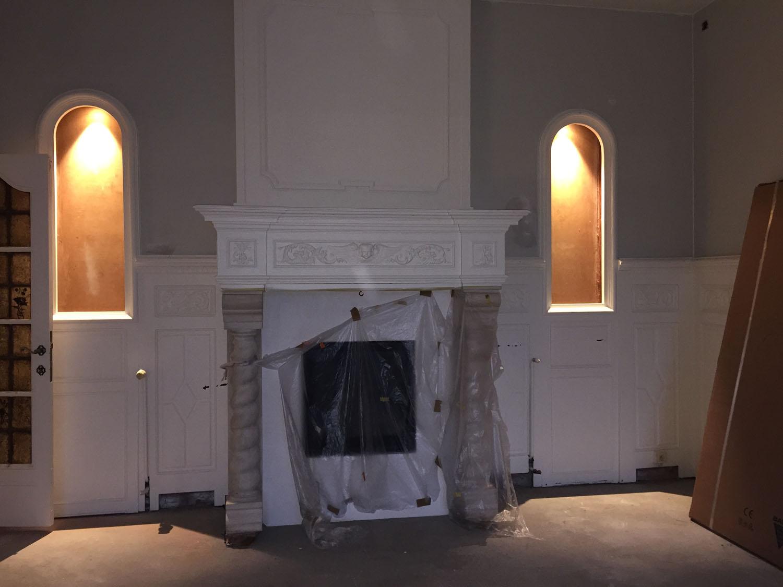 renovatie van de twee nissen met led verlichting