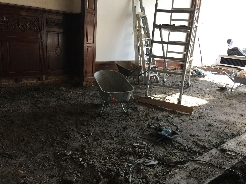 verwijderen oude parket en verkruimelde chape